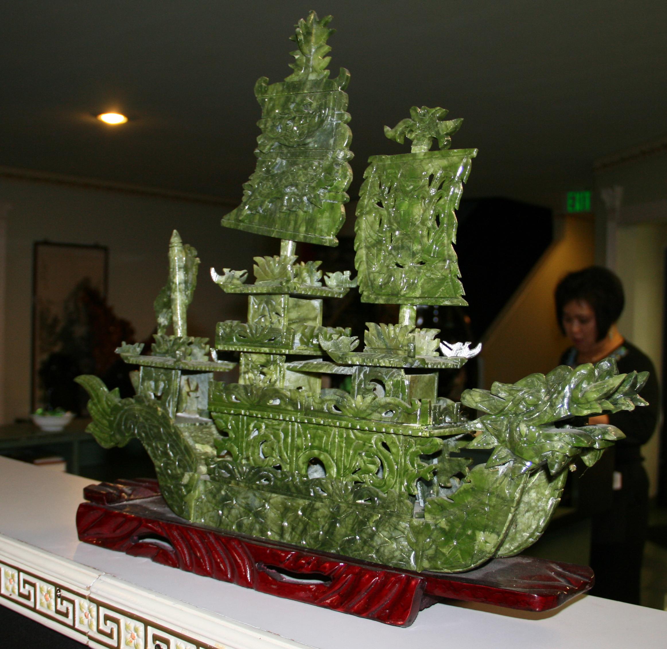 Hand Crafted Jade Sailing Ship